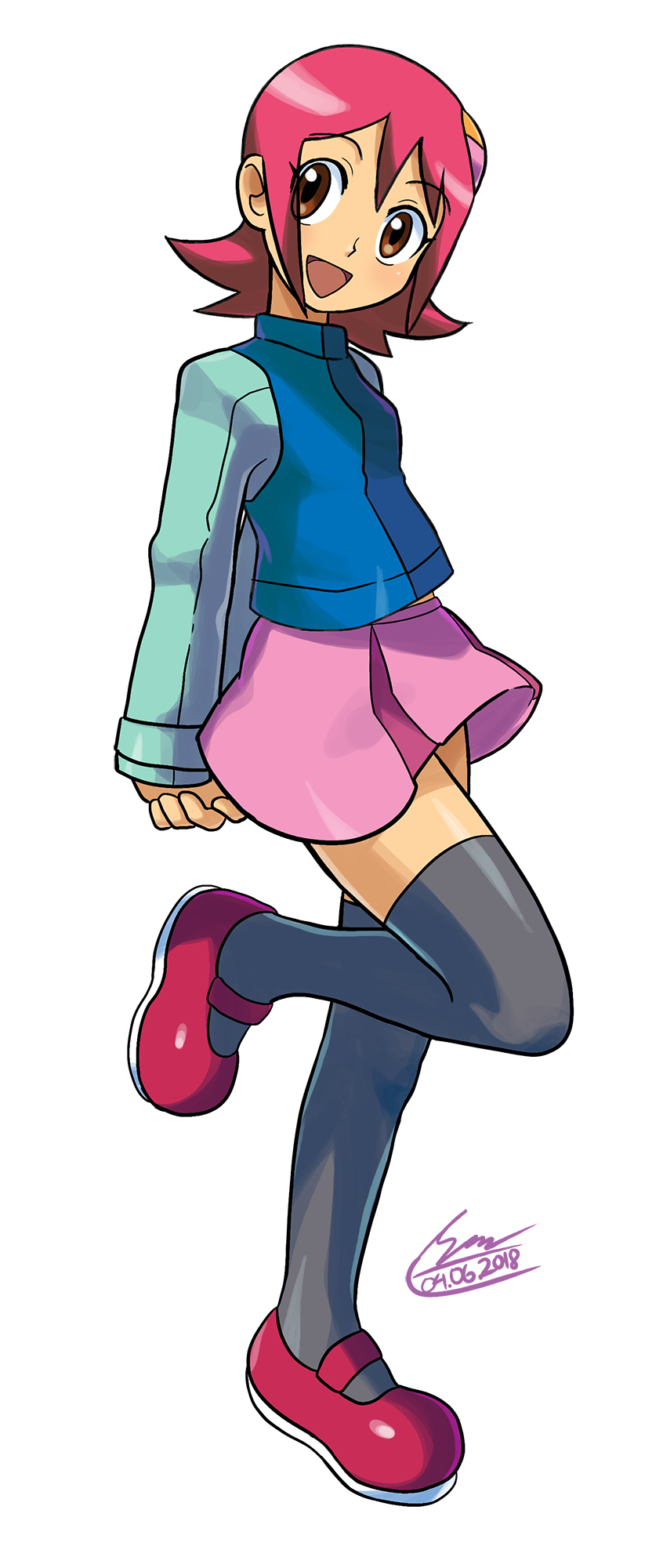 1girl arms_behind_back bangs blush breasts brown_eyes dated eyebrows_visible_through_hair full_body happy head_tilt highres long_sleeves looking_at_viewer miniskirt official_style one_leg_raised open_mouth pink_skirt purple_hair rockman rockman_exe sakurai_meiru shoes short_hair shoutaro_saito sidelocks signature simple_background skirt small_breasts smile solo standing thigh-highs white_background zettai_ryouiki