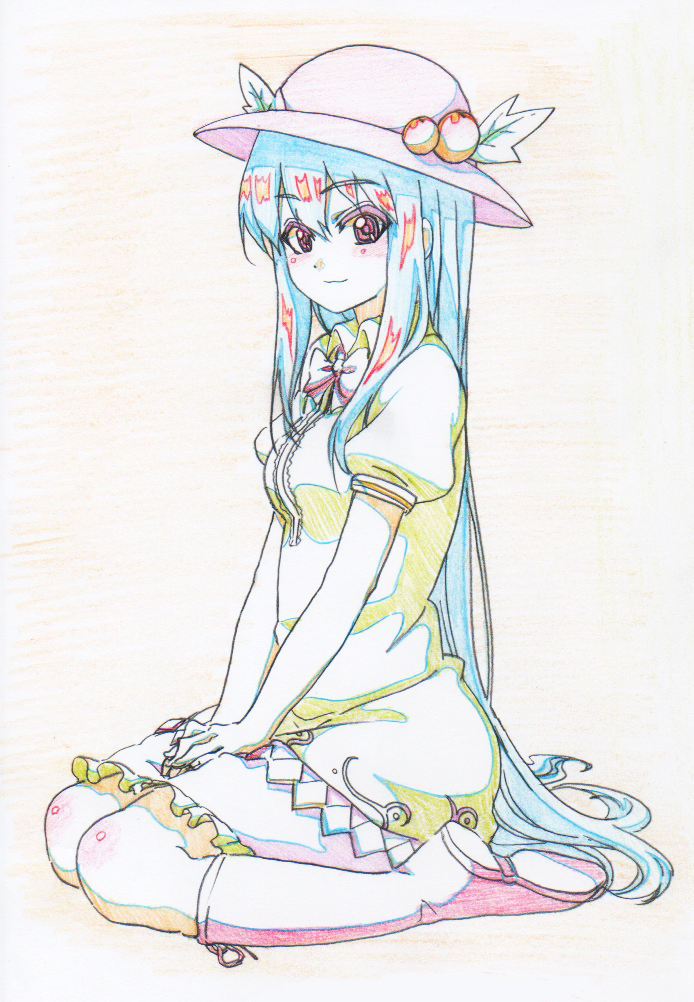 1girl blue_hair boots bow bowtie closed_mouth collared_dress colored_pencil_(medium) dress eyebrows_visible_through_hair food from_side fruit green_dress hat hinanawi_tenshi leaf long_hair looking_at_viewer looking_to_the_side peach pink_footwear pink_neckwear pink_x puffy_short_sleeves puffy_sleeves red_eyes short_sleeves sitting smile solo touhou traditional_media very_long_hair wariza wing_collar