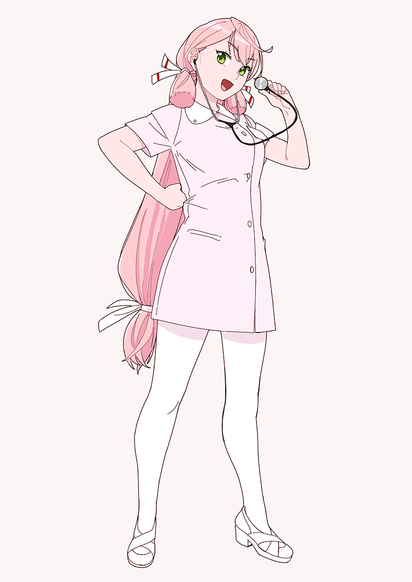 1girl akashi_(kantai_collection) full_body hair_ribbon hand_on_hip kantai_collection long_hair looking_at_viewer nurse ojipon open_mouth pantyhose parted_lips pink_hair ribbon simple_background smile solo standing stethoscope tress_ribbon white_background white_legwear