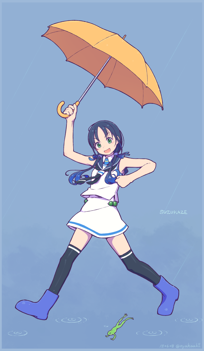 >:d 1girl black_legwear blue_background blue_footwear blue_hair boots character_name dated frog full_body gloves green_eyes hair_ribbon highres holding holding_umbrella kantai_collection long_hair looking_at_viewer low_twintails mumyoudou neckerchief rain ribbon rubber_boots school_uniform serafuku simple_background sleeveless solo suzukaze_(kantai_collection) thigh-highs twintails twitter_username umbrella white_gloves