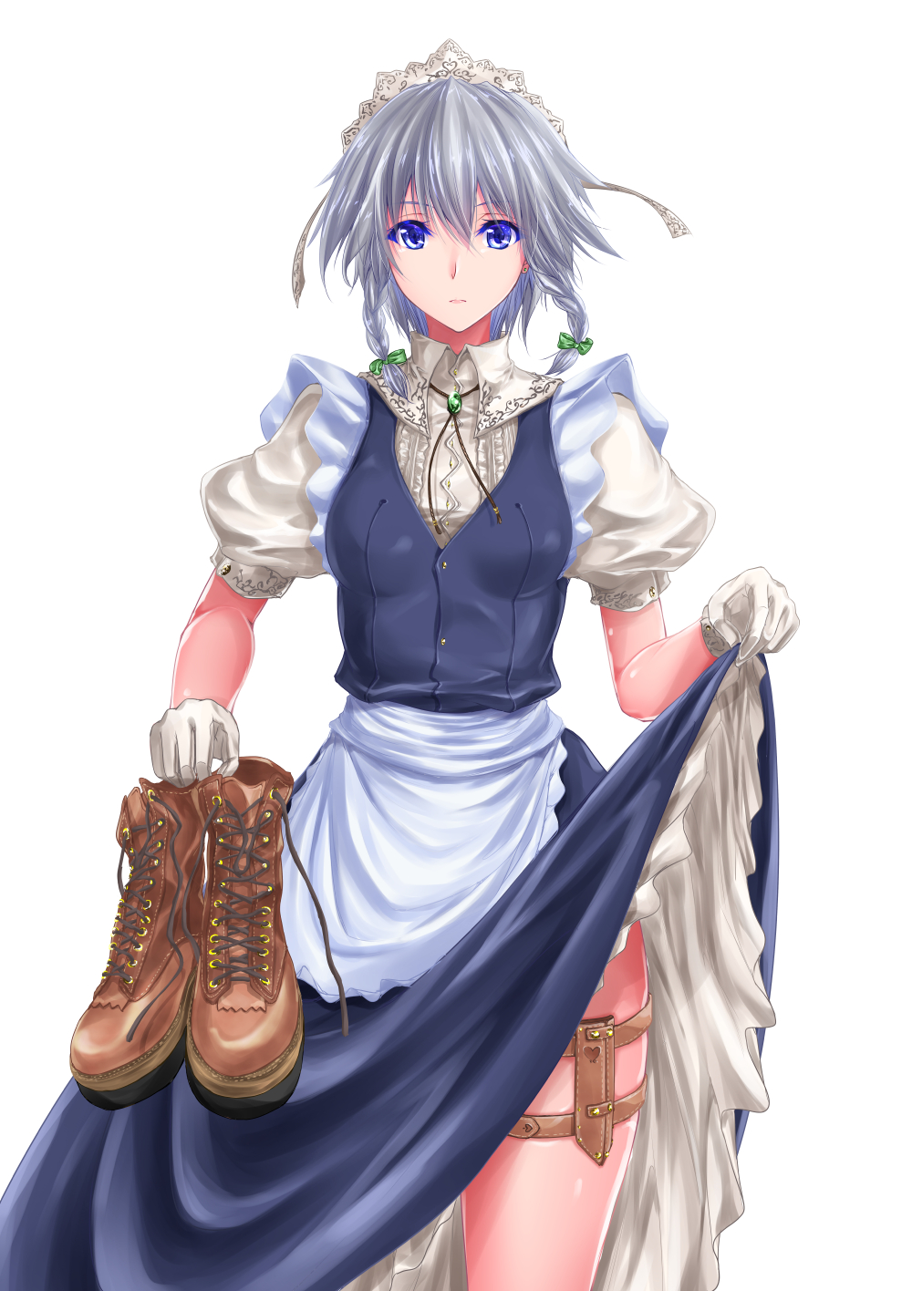 1girl apron blue_dress blue_eyes boots bow braid breasts brooch brown_footwear colored_eyelashes commentary_request cowboy_shot dress dress_lift ear_piercing eyebrows_visible_through_hair frilled_apron frills gloves green_bow hair_between_eyes hair_bow highres holding_boots holding_footwear holster izayoi_sakuya jewelry looking_at_viewer maho_(yakimorokoshi) maid maid_apron maid_headdress medium_breasts petticoat piercing pink_lips puffy_short_sleeves puffy_sleeves short_hair short_sleeves silver_hair simple_background solo standing thigh_holster touhou twin_braids white_apron white_background white_gloves wing_collar