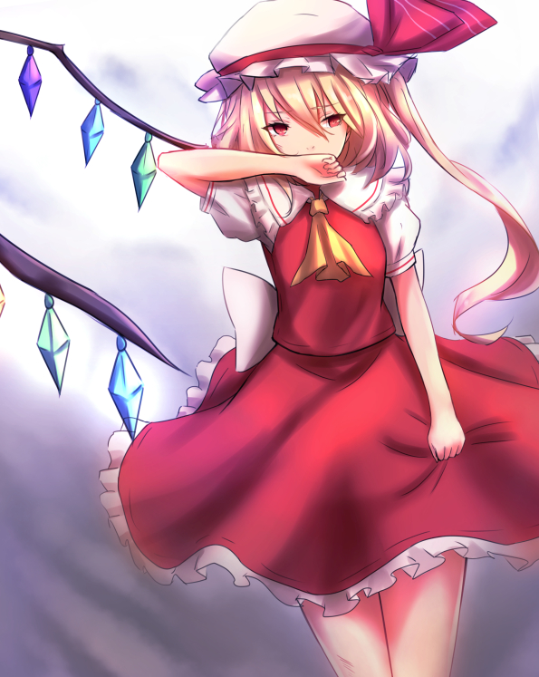 1girl back_bow bangs blonde_hair bow covering_mouth cowboy_shot eyebrows_visible_through_hair flandre_scarlet frilled_skirt frills hair_between_eyes hat kagarino_hikaru long_hair red_eyes red_skirt short_sleeves side_ponytail single_wing skirt solo standing touhou white_bow white_hat wings