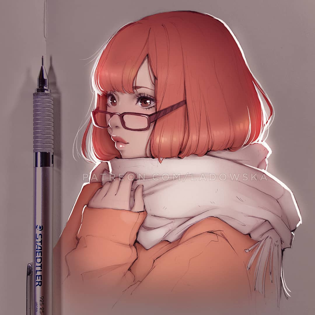 1girl arms_up backlighting bangs brown_eyes closed_mouth commentary_request eyelashes glasses joanna_ladowska lips long_sleeves mechanical_pencil orange_coat paper parted_bangs pencil photo short_hair solo staedtler upper_body