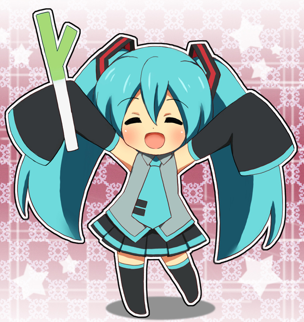 1girl :d black_legwear blue_hair blue_neckwear blush chibi closed_eyes collared_shirt detached_sleeves facing_viewer grey_shirt hatsune_miku long_hair long_sleeves necktie open_mouth pleated_skirt shirt skirt sleeveless sleeveless_shirt sleeves_past_wrists smile solo spring_onion standing standing_on_one_leg thigh-highs tonee twintails very_long_hair vocaloid wide_sleeves wing_collar