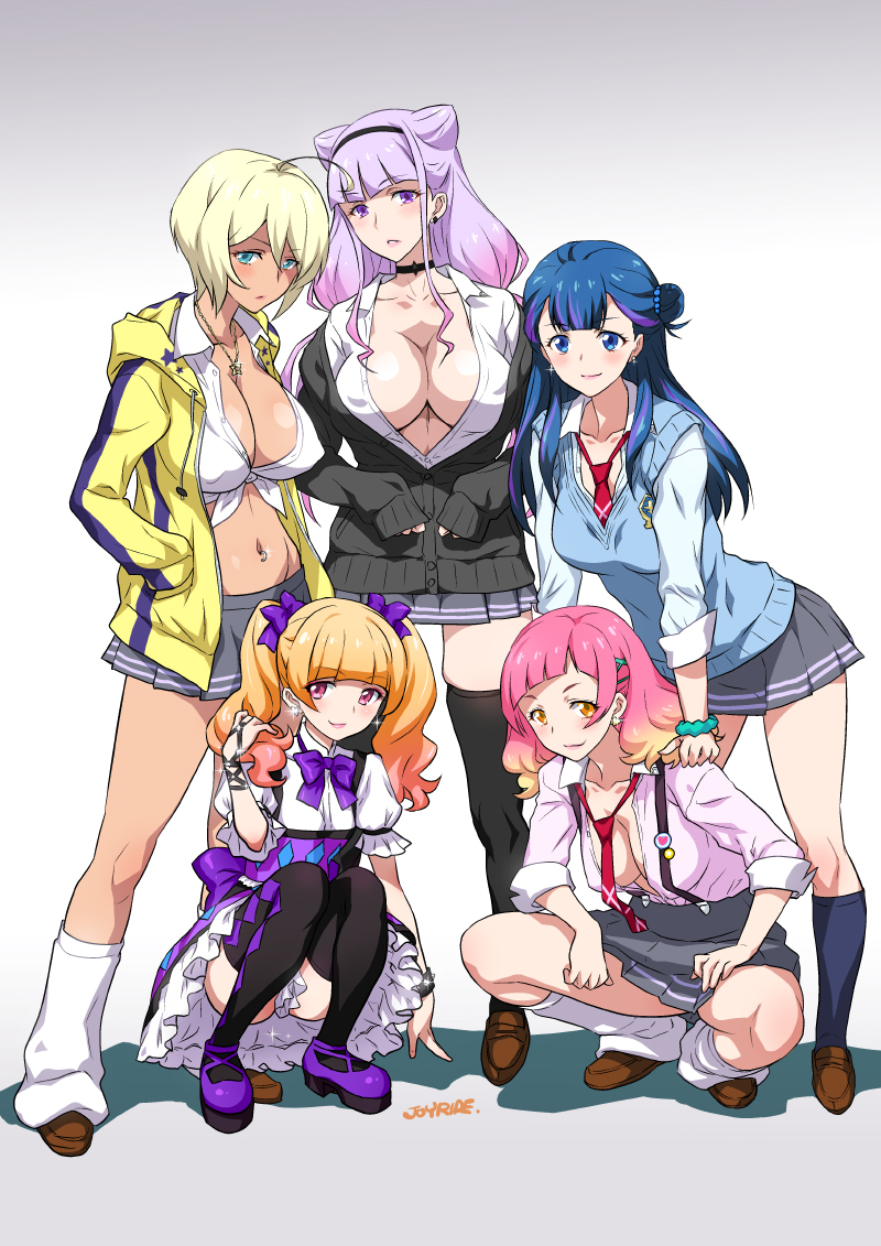 5girls aisaki_emiru aqua_eyes blonde_hair blue_eyes blue_hair bracelet breasts choker collarbone dark_skin erect_nipples full_body gyaru hair_ornament hairclip hand_on_thigh hugtto!_precure jewelry joy_ride kagayaki_homare large_breasts lavender_hair loose_socks miniskirt multicolored_hair multiple_girls navel_piercing necktie no_bra nono_hana open_clothes orange_eyes orange_hair pale_skin piercing pink_hair pleated_skirt precure ruru_amour school_uniform skirt smile squatting standing tan tanline thigh-highs two-tone_hair yakushiji_saaya