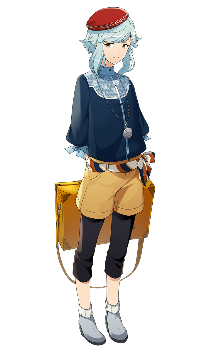 1boy blue_hair capri_pants full_body grey_eyes hat highres jewelry leonardo_da_vinci_(palette_parade) looking_at_viewer male_focus official_art palette_parade pants pendant solo transparent_background