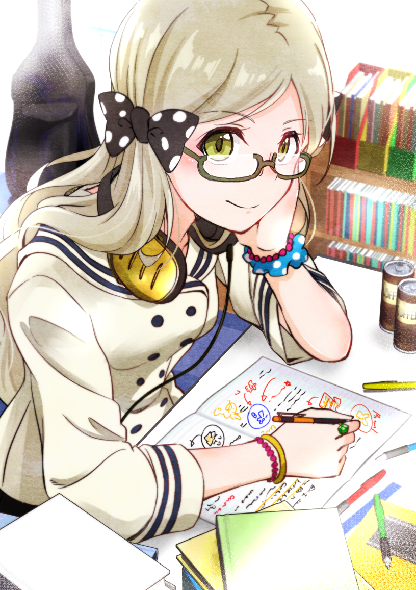 1girl black_bow blonde_hair book_stack bookshelf bow braid can chin_rest double-breasted elbows_on_table glasses green_eyes guitar_case handa_roko headphones headphones_around_neck homework idolmaster idolmaster_million_live! instrument_case jewelry long_hair long_sleeves looking_at_viewer mechanical_pencil pencil polka_dot polka_dot_bow polka_dot_scrunchie ring rurika_seijin school_uniform scrunchie semi-rimless_eyewear serafuku smile solo under-rim_eyewear wrist_scrunchie
