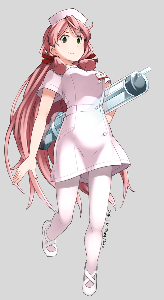 1girl akashi_(kantai_collection) alternate_costume breasts dated full_body green_eyes grey_background hair_ribbon hat kantai_collection large_breasts long_hair looking_at_viewer looking_down mary_janes name_tag nurse nurse_cap pink_hair ribbon sakura_(medilore) shoes short_sleeves simple_background smile solo tress_ribbon twitter_username white_footwear