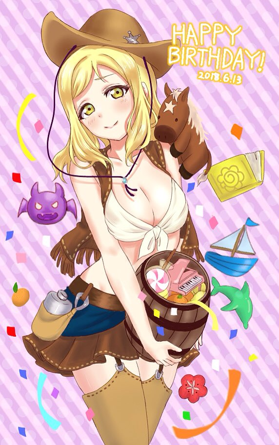 1girl barrel boat book breasts brown_legwear brown_skirt brown_vest candy canteen cleavage confetti cowboy_hat cowboy_shot dated demon dolphin flower food fringe front-tie_top fruit garter_straps green_eyes happy_birthday hat holding instrument looking_at_viewer love_live! love_live!_sunshine!! mandarin_orange matsumoto_(starbright_mary) medium_breasts medium_hair midriff mini_piano ohara_mari piano pouch red_flower skirt smile solo star_hat_ornament striped striped_background stuffed_horse thigh-highs vertical-striped_background vertical_stripes vest watercraft western