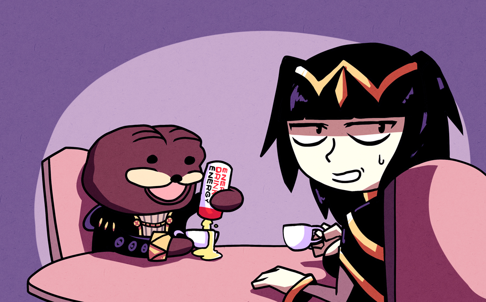 1boy 1girl :d bangs black_hair blunt_bangs cape chair commentary energy_drink english_commentary fire_emblem holding looking_away my_unit_(fire_emblem:_kakusei) open_mouth purple_background setz sitting smile spurdo_bear sweatdrop table tharja two_side_up
