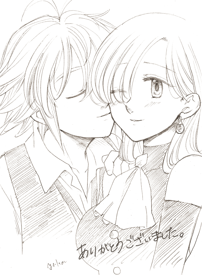 1boy 1girl antenna_hair artist_name bare_shoulders blush buttons closed_eyes couple detached_sleeves earrings elizabeth_liones eyes_visible_through_hair greyscale hair_over_one_eye harumiya imminent_kiss jewelry meliodas monochrome nanatsu_no_taizai necktie one_eye_closed