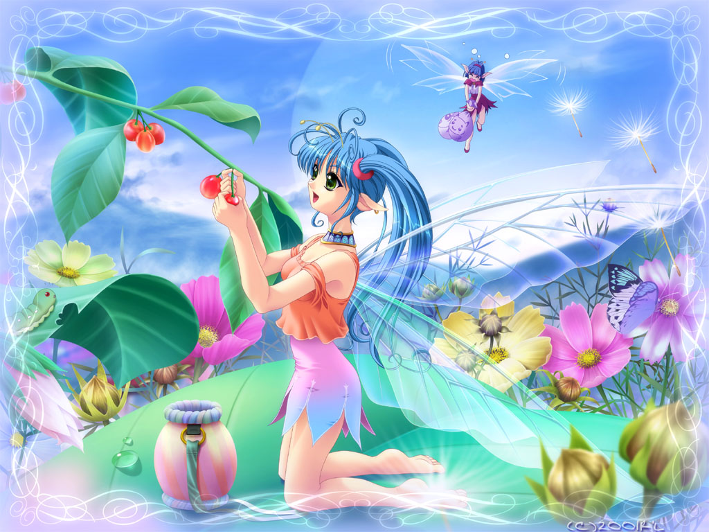 2girls antennae bare_shoulders barefoot berries blue_hair bug butterfly caterpillar choker commentary_request copyright_request dandelion fairy flower green_eyes harvest insect kneeling long_hair minigirl multiple_girls nature pixie pointy_ears r'l skirt smile twintails wings