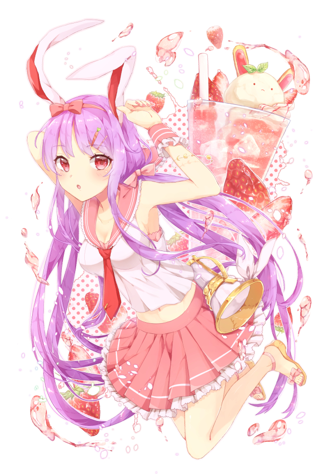1girl :o alternate_costume animal_ears armpits arms_up bare_arms bare_shoulders blush bow breasts cleavage collarbone commentary_request cup drinking_glass drinking_straw eyebrows_visible_through_hair food fruit full_body hair_bow hair_ornament hairclip konnyaku_(yuukachan_51) long_hair looking_at_viewer lunatic_gun medium_breasts midriff miniskirt nail_polish navel necktie parted_lips petticoat pink_bow pink_nails pink_skirt pleated_skirt purple_hair rabbit_ears red_eyes red_neckwear reisen_udongein_inaba ribbon sailor_collar sandals shirt simple_background skirt sleeveless sleeveless_shirt solo strawberry touhou very_long_hair white_background white_ribbon white_shirt wrist_cuffs
