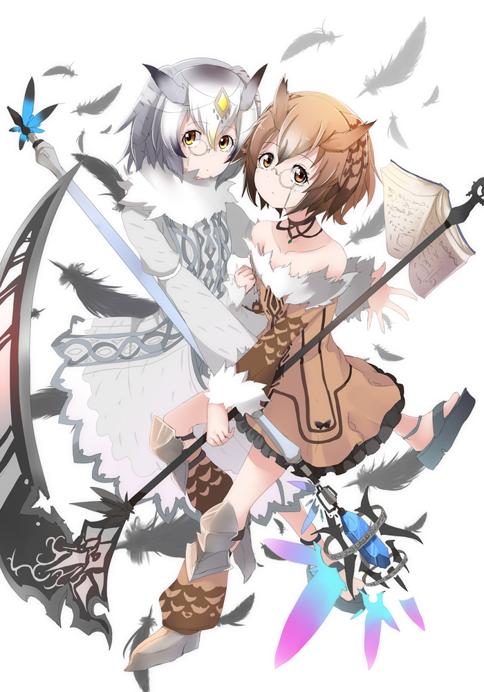 2girls adapted_costume amai_nekuta bare_shoulders book brown_eyes brown_hair choker commentary_request eurasian_eagle_owl_(kemono_friends) feathers full_body fur-trimmed_sleeves fur_collar fur_trim head_wings kemono_friends monocle multiple_girls northern_white-faced_owl_(kemono_friends) open_book partial_commentary scythe short_hair simple_background staff white_background yellow_eyes