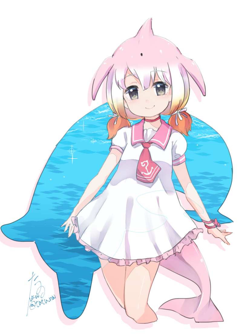 1girl blonde_hair blowhole bracelet chinese_white_dolphin_(kemono_friends) choker dolphin_tail dress eyebrows_visible_through_hair frilled_dress frills hair_tie japari_symbol japari_symbol_print jewelry kemono_friends looking_at_viewer multicolored_hair necktie orange_hair pink_hair puffy_short_sleeves puffy_sleeves red_choker sailor_collar short_sleeves signature smile solo tatsuno_newo water white_hair