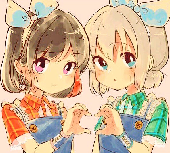 2girls :o aoba_moka aqua_eyes bang_dream! bangs black_hair blue_ribbon bob_cut collared_shirt dress earrings eyebrows_visible_through_hair frills green_eyes grey_hair hair_ribbon heart heart_earrings heart_hands heart_hands_duo jewelry jpeg_artifacts looking_at_viewer low_ponytail mitake_ran multicolored_hair multiple_girls pinafore_dress pink_background plaid plaid_shirt red_shirt redhead ribbon shirt short_ponytail short_sleeves streaked_hair upper_body violet_eyes wata_yuki wavy_mouth wristband