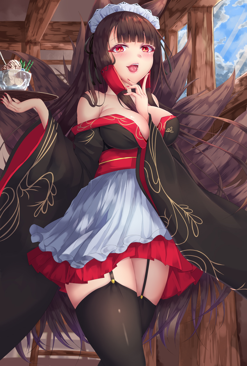 1girl akagi_(azur_lane) animal_ears azur_lane bare_shoulders black_hair black_legwear blush commentary_request food fox_ears fox_tail garter_straps hair_tubes highres ice_cream japanese_clothes kimono kimono_skirt kitsune long_hair looking_at_viewer maid_headdress multiple_tails off_shoulder open_mouth red_eyes shiro_usagi solo tail thigh-highs tray