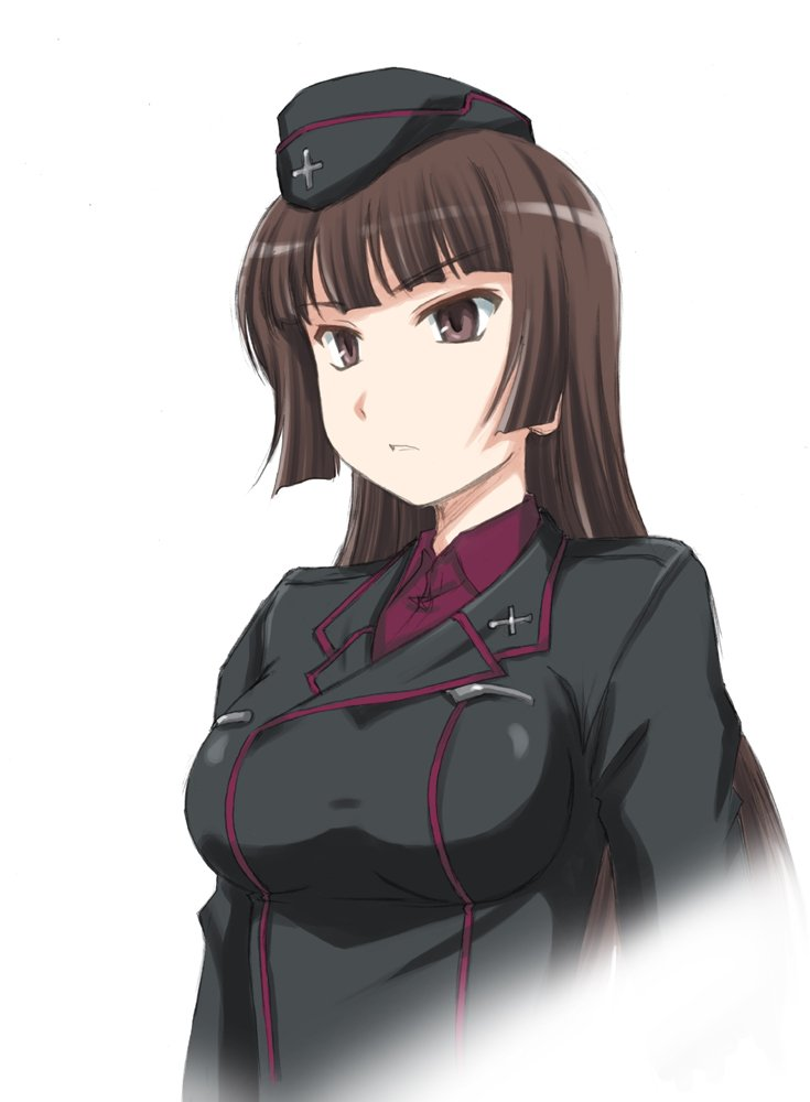 1girl bangs black_hat black_jacket blunt_bangs brown_eyes brown_hair commentary_request dress_shirt eyebrows_visible_through_hair fading garrison_cap girls_und_panzer hat jacket kuromorimine_military_uniform light_frown long_hair long_sleeves looking_to_the_side military military_hat military_uniform nishizumi_shiho parted_lips red_shirt shirt simple_background solo standing straight_hair uniform upper_body wan'yan_aguda white_background younger