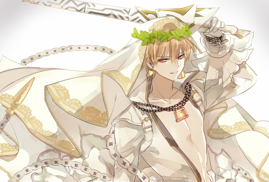 1boy bare_chest blonde_hair chains collarbone cosplay ea_(fate/stay_night) earrings fate/grand_order fate_(series) gilgamesh head_wreath holding holding_sword holding_weapon jewelry looking_at_viewer male_focus nero_claudius_(bride)_(fate) nero_claudius_(bride)_(fate)_(cosplay) nero_claudius_(fate)_(all) red_eyes simple_background smile solo sword upper_body veil weapon white white_background xiaoxue