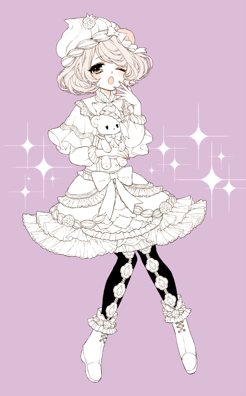 1girl ankle_boots blush boots capelet chino_machiko copyright_request dress hand_up highres long_sleeves looking_at_viewer one_eye_closed open_mouth pantyhose pink_background ribbon short_hair simple_background solo sparkle yawning
