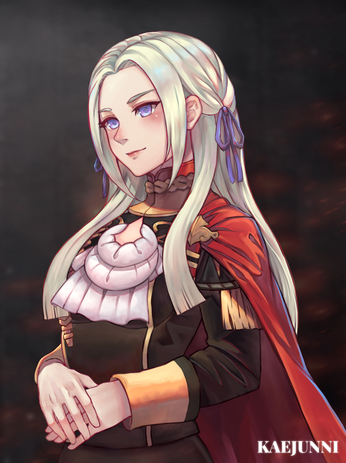 1girl blonde_hair blue_eyes cape chrone closed_mouth cravat edelgard_von_hresvelgr_(fire_emblem) fire_emblem fire_emblem:_fuukasetsugetsu gloves hair_ornament long_hair mole mole_under_mouth simple_background smile solo uniform