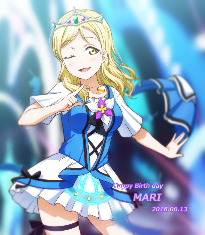 1girl ;d alternate_hairstyle anibache black_ribbon blonde_hair blurry blurry_background character_name commentary_request cowboy_shot dated dress flower green_eyes happy_birthday index_finger_raised jewelry love_live! love_live!_sunshine!! medium_hair ohara_mari one_eye_closed open_mouth pendant ribbon short_sleeves smile solo thigh_ribbon tiara water_blue_new_world