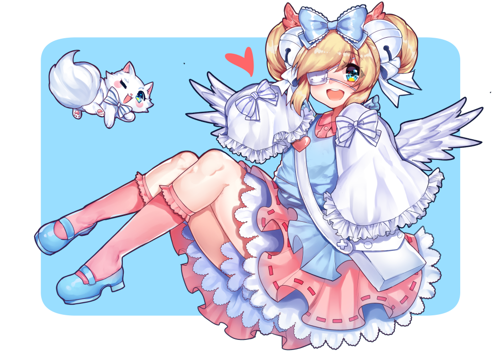 1girl :d bell blonde_hair blue_background blue_bow blue_eyes blue_footwear blue_vest blush bow cat collared_shirt commentary cutesu_(cutesuu) double_bun english_commentary eyepatch frilled_bow frilled_skirt frills hair_bell hair_bow hair_ornament heart jingle_bell long_sleeves looking_at_viewer medical_eyepatch open_mouth original osiimi pink_legwear pink_shirt pink_skirt round_teeth shirt shoes simple_background sitting skirt sleeves_past_fingers smile socks solo teeth vest white_wings wide_sleeves wing_collar wings