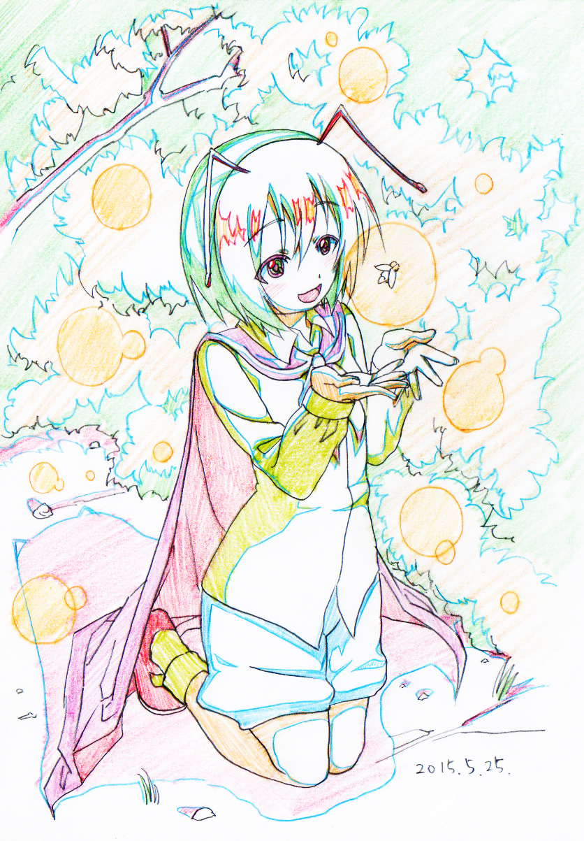 1girl :d antennae blouse bug bush cape colored_pencil_(medium) dated eyebrows_visible_through_hair firefly graphite_(medium) green_hair highres insect kneeling long_sleeves looking_at_viewer open_mouth pink_x red_eyes red_footwear shoes shorts smile socks solo touhou traditional_media wriggle_nightbug yellow_legwear