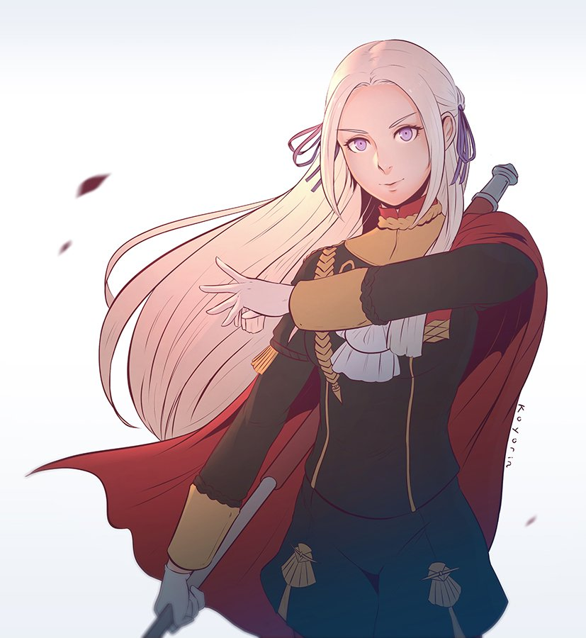 1girl axe blonde_hair blue_eyes cape cravat edelgard_von_hresvelgr_(fire_emblem) fire_emblem fire_emblem:_fuukasetsugetsu gloves hair_ornament koyorin long_hair looking_at_viewer mole mole_under_mouth pantyhose simple_background smile solo uniform weapon white_background