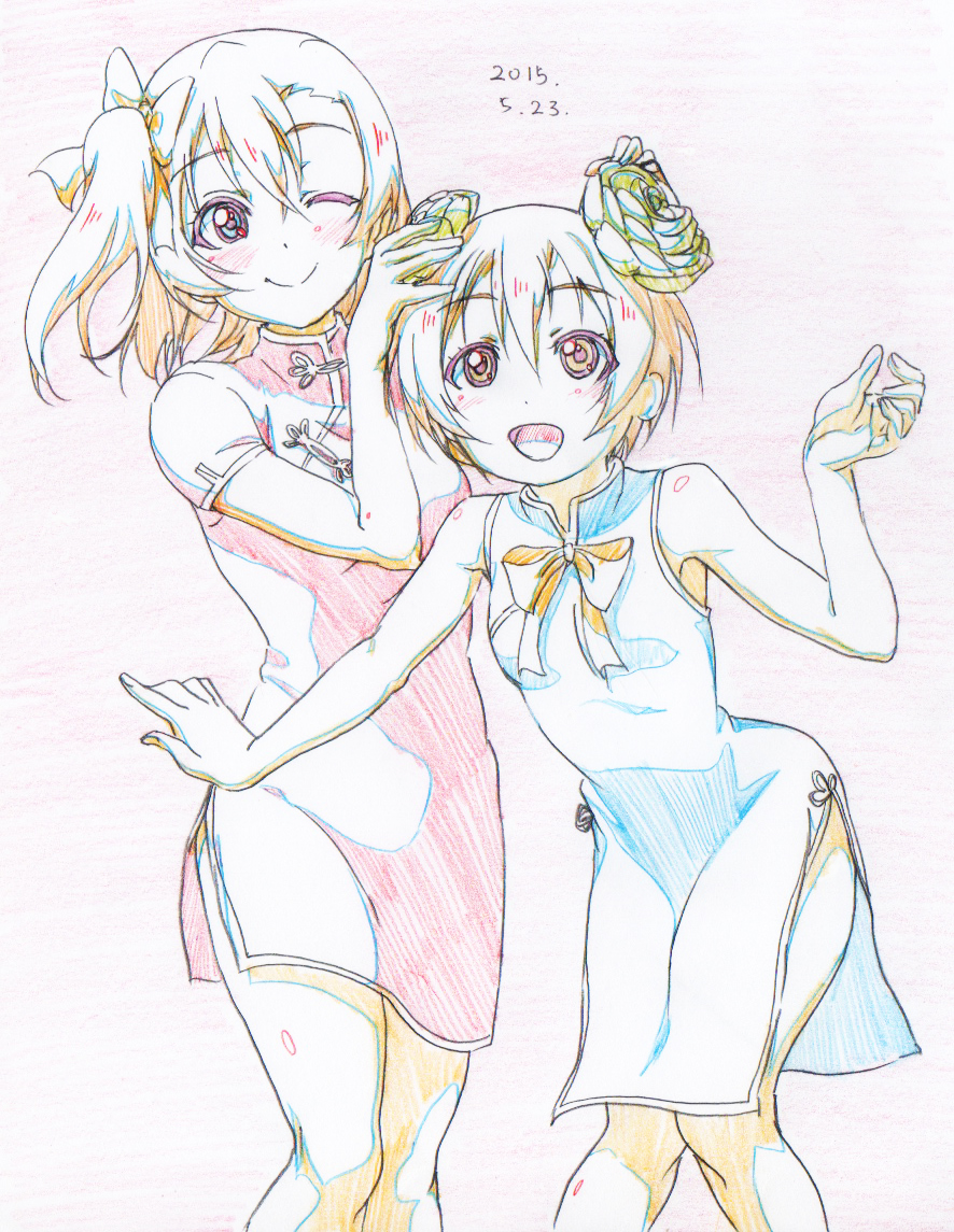 2girls :d bare_arms bare_shoulders blonde_hair blue_dress china_dress chinese_clothes colored_pencil_(medium) dated dress flower graphite_(medium) hair_flower hair_ornament hoshizora_rin kousaka_honoka leaning_forward limited_palette looking_at_viewer love_live! love_live!_school_idol_project multiple_girls one_eye_closed one_side_up open_mouth pink_dress pink_x short_hair short_sleeves smile standing traditional_media