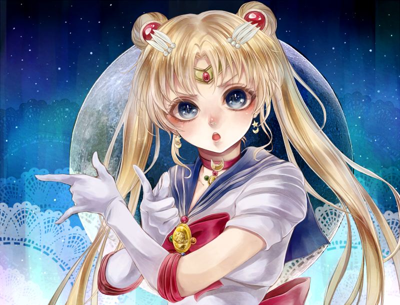 >:o 1girl bangs bishoujo_senshi_sailor_moon bishoujo_senshi_sailor_moon_crystal blacksio blonde_hair blue_background blue_eyes blue_sailor_collar bow brooch choker circlet crescent crescent_earrings crescent_moon_choker doily double_bun earrings elbow_gloves full_moon gloves gradient gradient_background hair_ornament hairclip jewelry long_hair moon open_mouth parted_bangs pose red_bow sailor_collar sailor_moon short_sleeves solo tsuki_ni_kawatte_oshioki_yo tsukino_usagi twintails upper_body very_long_hair white_gloves