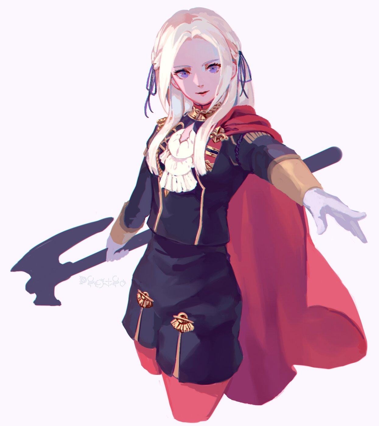 1girl axe blonde_hair blue_eyes cape cravat edelgard_von_hresvelgr_(fire_emblem) fire_emblem fire_emblem:_fuukasetsugetsu gloves hair_ornament highres long_hair looking_at_viewer mole mole_under_mouth pantyhose rheamii simple_background smile solo uniform weapon white_background
