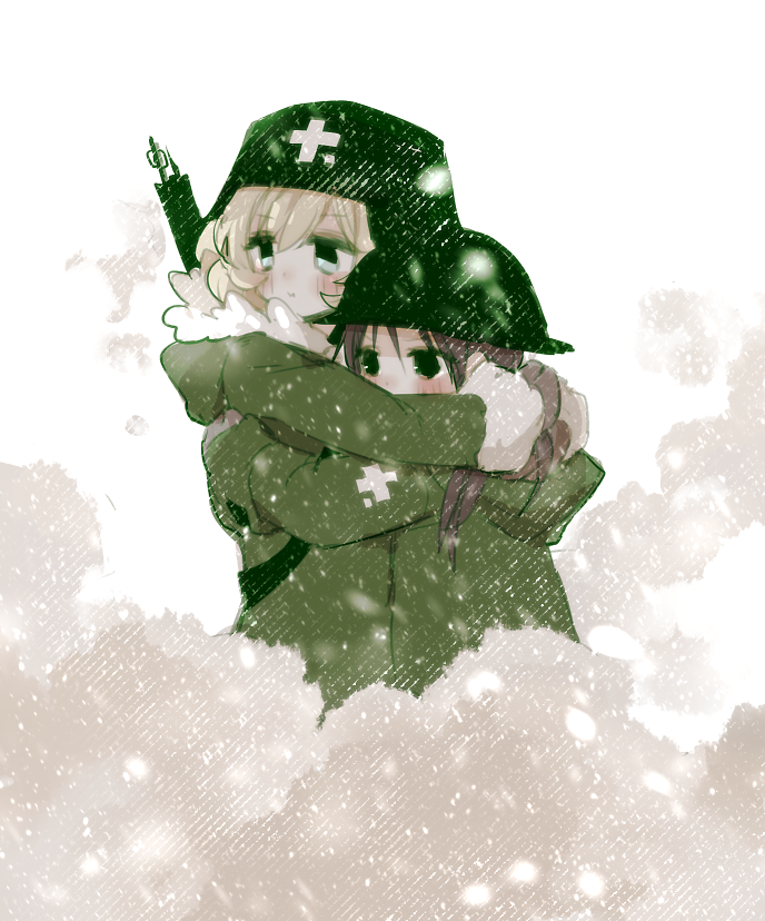 2girls ahoge blonde_hair blue_eyes blush brown_gloves brown_hair chino_machiko chito_(shoujo_shuumatsu_ryokou) fur_trim gloves green_jacket gun helmet hood hood_down hug jacket long_sleeves multiple_girls rifle short_hair shoujo_shuumatsu_ryokou weapon yuuri_(shoujo_shuumatsu_ryokou)