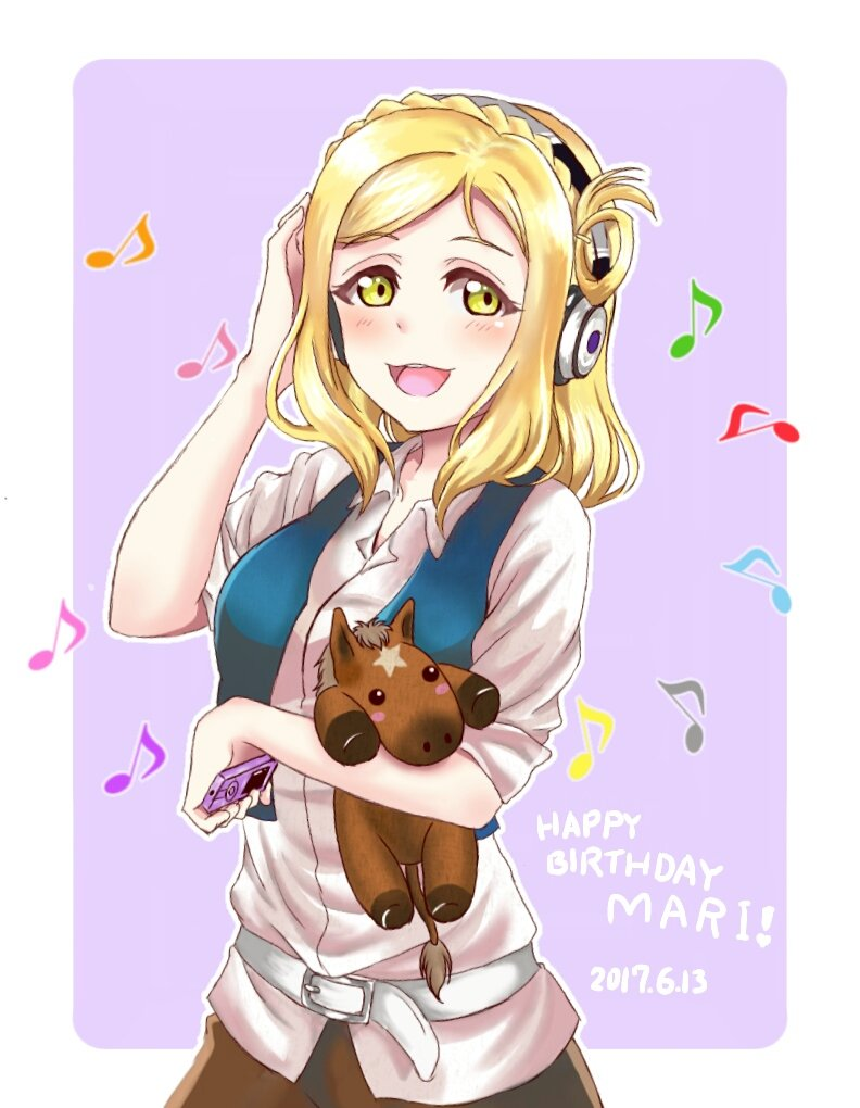 1girl :d belt blonde_hair blue_vest blush braid character_name crown_braid dated digital_media_player hair_rings hand_on_headphones happy_birthday headphones holding holding_stuffed_animal love_live! love_live!_sunshine!! matsumoto_(starbright_mary) medium_hair musical_note ohara_mari open_mouth outline shirt smile solo stuffed_animal stuffed_horse stuffed_toy upper_body vest white_outline white_shirt wireless