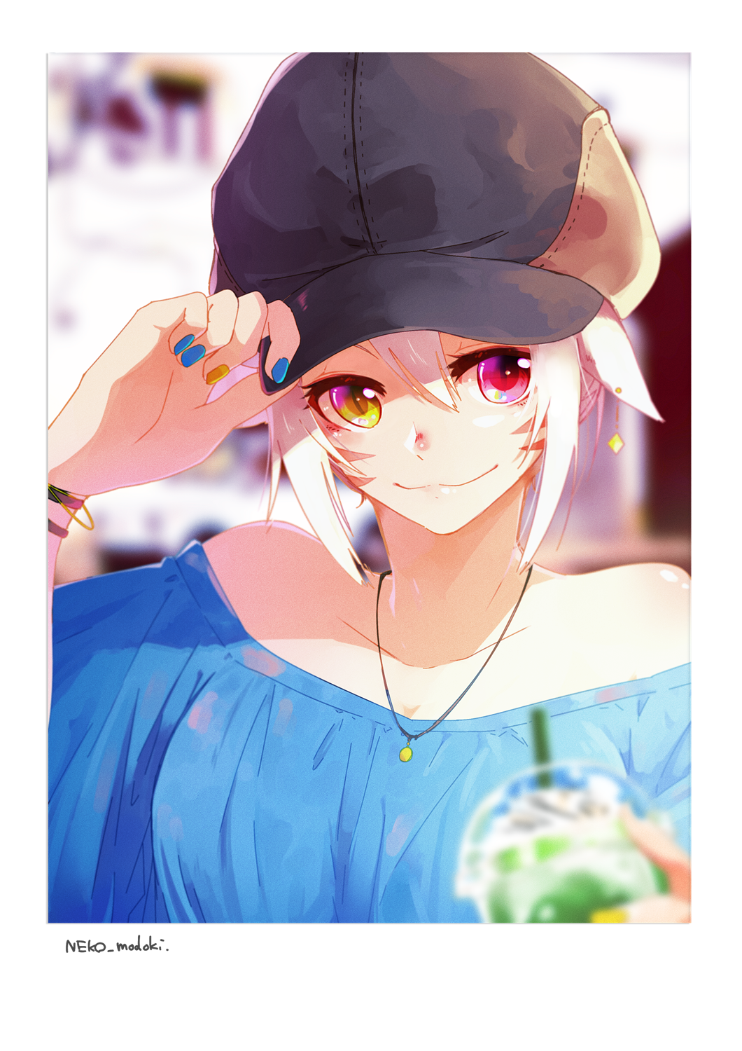 1girl bare_shoulders blurry blurry_background blurry_foreground bracelet casual close-up collarbone cup drinking_glass earrings face facial_mark final_fantasy final_fantasy_xiv hand_on_headwear hat heterochromia highres jewelry lili_mdoki looking_at_viewer miqo'te nail_polish necklace off_shoulder short_hair slit_pupils smile solo white_hair