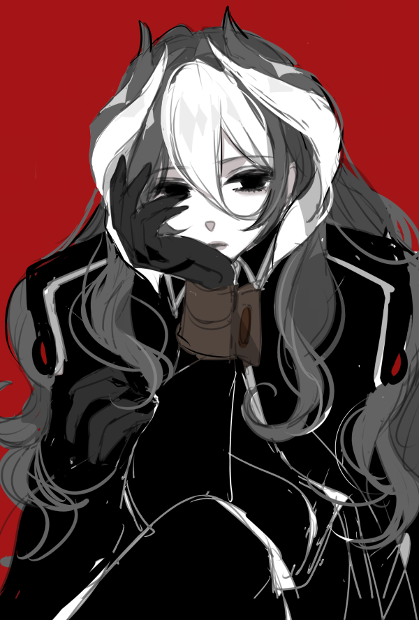 1girl alternate_hair_length alternate_hairstyle black_eyes black_gloves black_hair black_jacket black_pants chin_rest chino_machiko gloves hair_between_eyes jacket long_hair looking_at_viewer made_in_abyss multicolored_hair ozen pants red_background simple_background sitting solo two-tone_hair white_hair