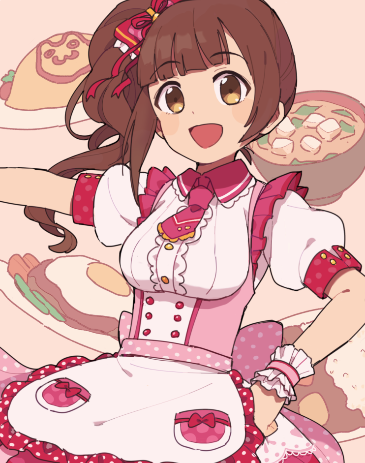 1girl :d apron bow bowl brown_eyes brown_hair collar collared_dress commentary costume_request dress eyebrows_visible_through_hair food frilled_apron frilled_collar frilled_neckwear frills gomi_(kaiwaresan44) hair_bow hair_ribbon hand_on_hip idolmaster idolmaster_cinderella_girls igarashi_kyouko large_bow maid_apron necktie open_mouth pink_apron pink_bow pink_dress pink_neckwear polka_dot polka_dot_dress puffy_sleeves red_bow ribbon short_dress side_ponytail smile solo soup standing upper_body wristband
