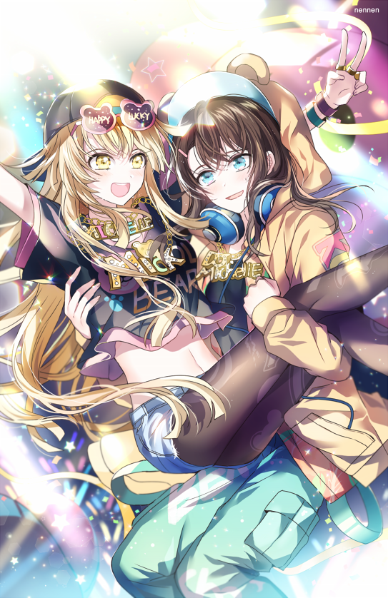 2girls :d \o/ arms_up artist_name backwards_hat bang_dream! bangs baseball_cap bear_hood beige_jacket black_hair black_hat black_legwear bling blonde_hair blue_eyes blue_pants carrying clothes_writing confetti denim denim_shorts fancy_glasses glowstick hair_ornament hairclip hat headphones headphones_around_neck hood hood_up jewelry long_hair long_sleeves medium_hair michelle_(bang_dream!) midriff multiple_girls navel necklace nennen okusawa_misaki open_mouth outstretched_arms pants pantyhose pantyhose_under_shorts princess_carry ring shirt short_hair short_sleeves shorts smile strap t-shirt tsurumaki_kokoro v yellow_eyes