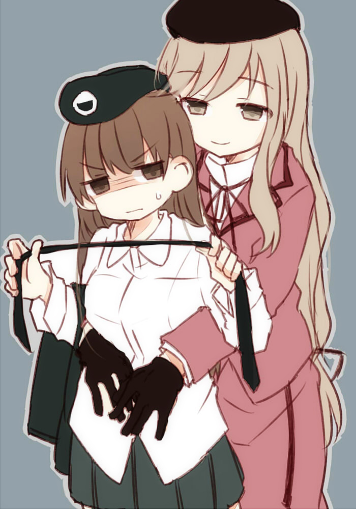 2girls angry beret black_gloves black_hat black_jacket black_neckwear black_skirt brown_eyes brown_hair closed_mouth cowboy_shot dress_shirt emblem formal frown fud girls_und_panzer gloom_(expression) gloves grey_background half-closed_eyes hat high_collar holding_necktie hug hug_from_behind jacket jacket_removed light_brown_eyes light_brown_hair medium_skirt miniskirt multiple_girls neck_ribbon necktie necktie_removed nishizumi_shiho pleated_skirt purple_jacket purple_skirt ribbon selection_university_military_uniform shimada_chiyo shirt simple_background skirt skirt_suit suit sweatdrop v-shaped_eyebrows white_shirt wing_collar younger