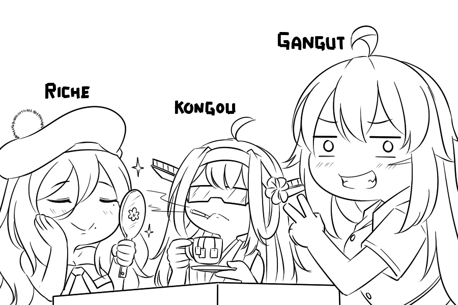 3girls ahoge applying_makeup beret commentary cup detached_sleeves double_bun dress_shirt english_commentary facial_scar gangut_(kantai_collection) grin guin_guin hairband hand_mirror hat headgear holding_mirror kantai_collection kongou_(kantai_collection) lineart long_hair looking_at_viewer mirror monochrome multiple_girls nontraditional_miko pom_pom_(clothes) ribbon-trimmed_sleeves ribbon_trim richelieu_(kantai_collection) scar scar_on_cheek shirt smile sunglasses table teabag teacup v