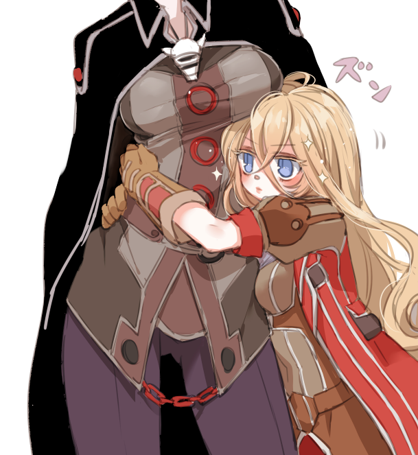 2girls belt black_cape blonde_hair breasts brown_jacket cape chains chino_machiko closed_mouth contrapposto gluteal_fold hair_between_eyes head_out_of_frame hug jacket large_breasts long_hair lyza made_in_abyss motion_lines multiple_girls ozen pants purple_pants simple_background standing violet_eyes whistle white_background