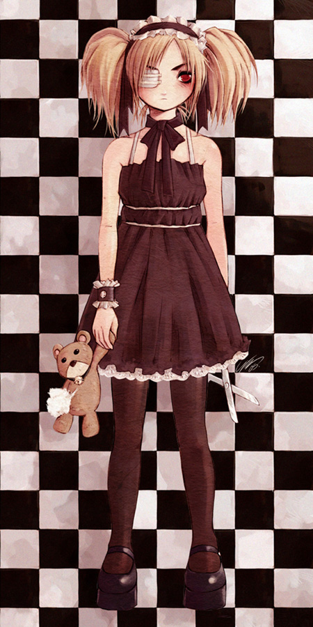 bow checkered cuff cuffs dress eyepatch flat_chest frown hairband lace mary_janes messiah messiah_cage mystic_cage pantyhose platform_footwear platform_shoes red_eyes ribbon scissors shoes short_hair standing stuffed_animal stuffed_toy teddy_bear twintails wristband