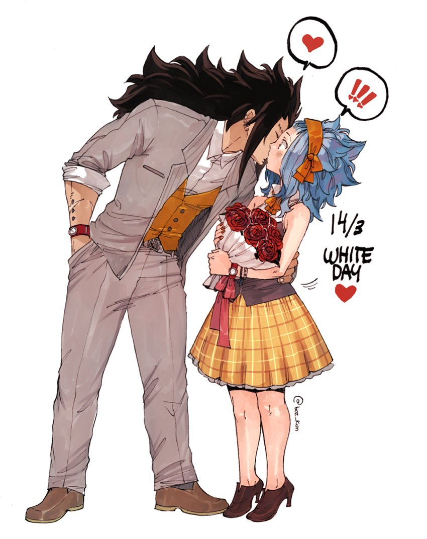 1boy 1girl blue_hair blush bouquet brown_footwear couple dress_shirt ear_piercing fairy_tail flower frilled_skirt frills full_body gajeel_redfox grey_jacket grey_pants hand_in_pocket hand_on_another's_hip headband high_heels holding holding_bouquet jacket kiss leaning_forward levy_mcgarden long_hair open_clothes open_jacket pants piercing pleated_skirt red_flower red_ribbon red_rose ribbon rose rusky shirt signature simple_background skirt sleeveless watch watch white_background white_shirt wrist_ribbon yellow_skirt