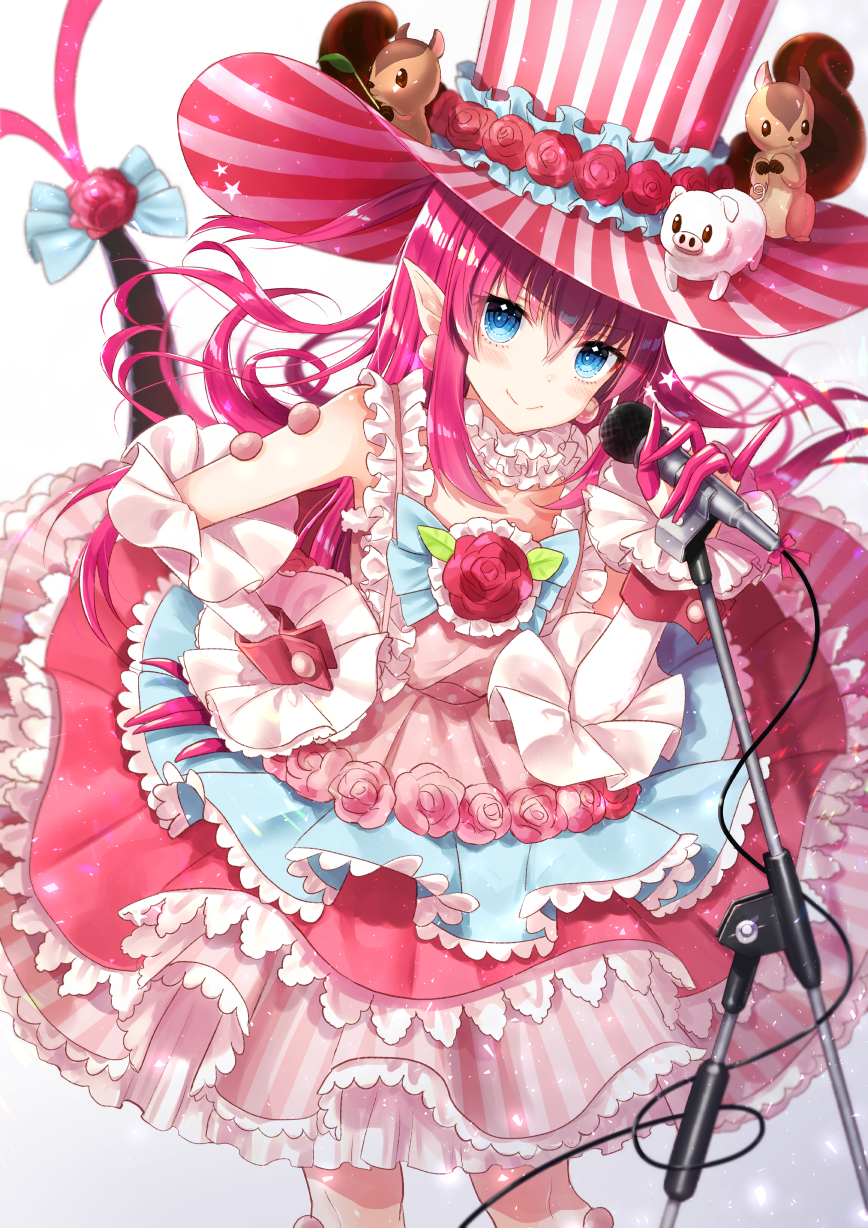 1girl bangs blue_eyes blue_ribbon blurry blush cable choker closed_mouth commentary_request depth_of_field detached_sleeves dragon_girl dragon_tail dress earrings elizabeth_bathory_(fate) elizabeth_bathory_(fate)_(all) eyebrows_visible_through_hair fate_(series) floating_hair flower frilled_choker frilled_dress frills gradient gradient_background hair_between_eyes hand_on_hip hat head_tilt highres holding holding_microphone jewelry layered_dress light_particles long_hair long_sleeves looking_at_viewer microphone microphone_stand multicolored multicolored_clothes multicolored_dress nunucco pig pink_dress pink_flower pink_hair pink_hat pink_rose pointy_ears polka_dot polka_dot_dress ribbon rose shiny shiny_hair sidelocks sleeveless sleeveless_dress smile solo squirrel standing star striped striped_hat tail tail_flower top_hat vertical-striped-hat vertical-striped_dress vertical-striped_hat vertical_stripes very_long_hair white_background white_choker