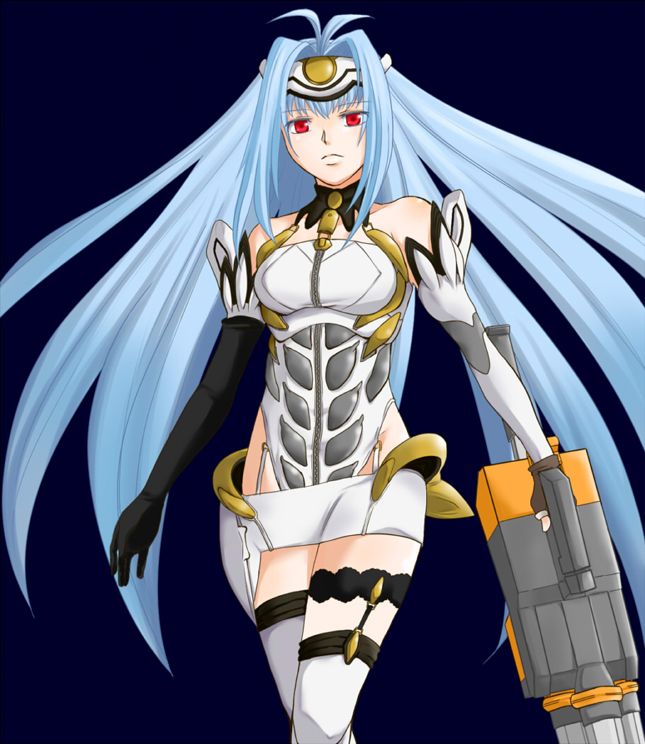 1girl android animal_ears bare_shoulders blue_hair breasts closed_mouth commentary_request cyborg elbow_gloves expressionless forehead_protector gloves highleg kos-mos leotard long_hair solo standing thigh-highs very_long_hair xenosaga