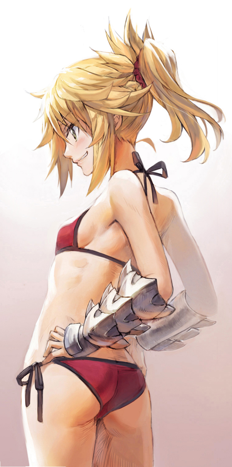 1girl armpits ass back bare_shoulders bikini blonde_hair blush bracer breasts butt_crack cleavage cowboy_shot eyebrows_visible_through_hair fate/apocrypha fate/grand_order fate_(series) from_behind from_side gauntlets green_eyes grin hair_ornament hair_scrunchie halterneck hands_on_hips high_ponytail highres mordred_(fate)_(all) mordred_(swimsuit_rider)_(fate) parted_lips ponytail red_bikini scrunchie short_ponytail side-tie_bikini sideboob simple_background small_breasts smile solo swimsuit tonee vambraces white_background