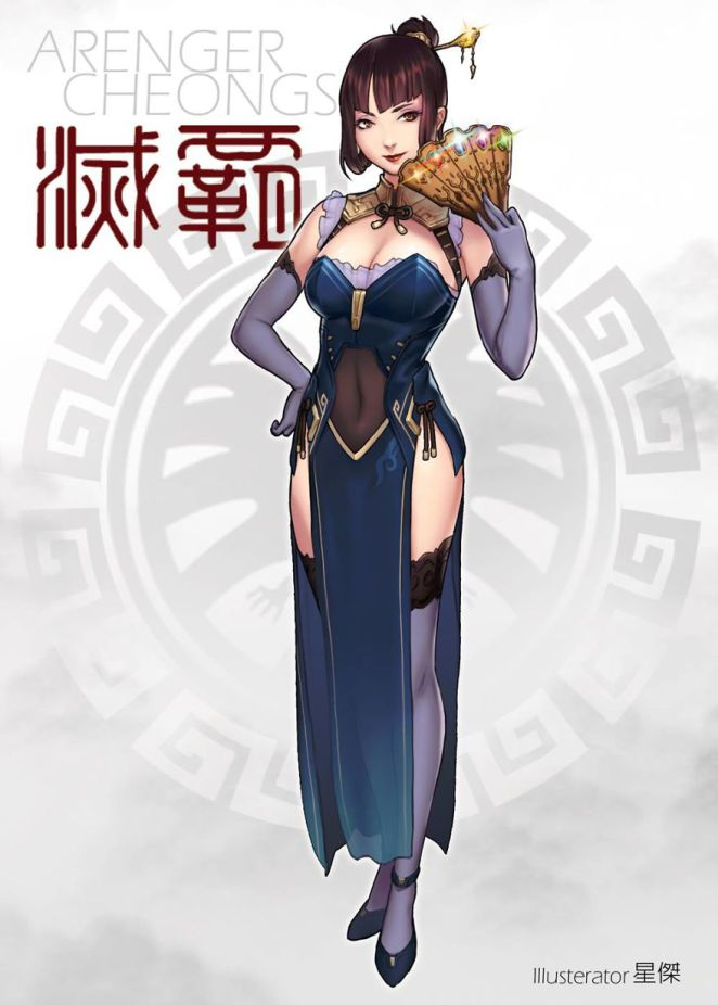 1girl avengers:_infinity_war breasts brown_hair china_dress chinese_clothes cleavage_cutout dress elbow_gloves fan folding_fan genderswap genderswap_(mtf) gloves hair_ornament hairpin humanization large_breasts marvel solo thanos thigh-highs tied_hair