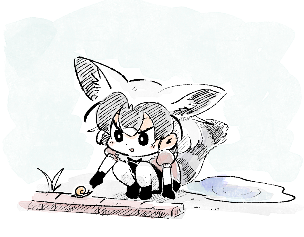 1girl animal_ears chibi commentary extra_ears fennecoon_(kemono_friends)_(panzuban) gloves original panzuban poking puddle puffy_short_sleeves puffy_sleeves short_hair short_sleeves snail solo squatting tail