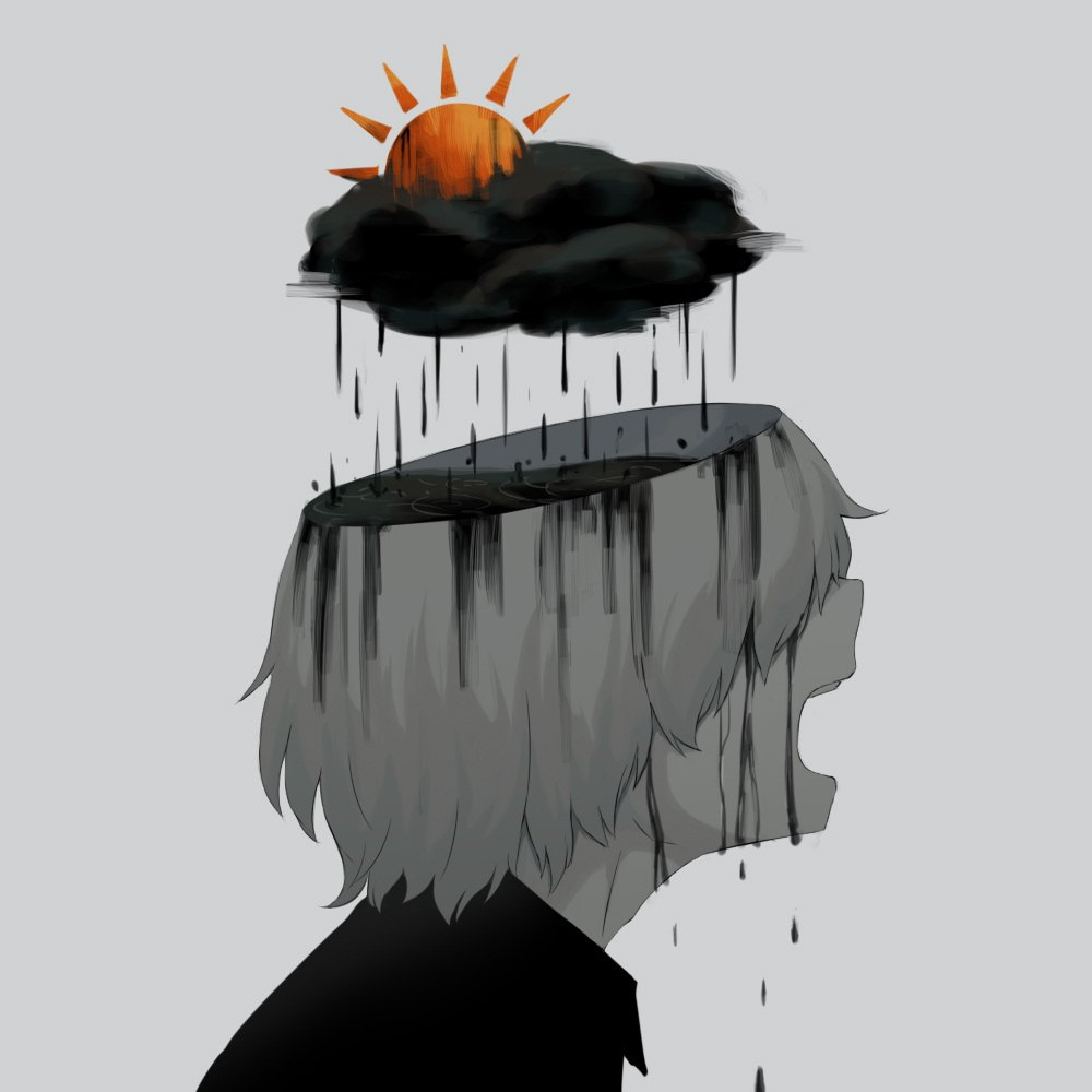 1other androgynous avogado6 commentary crying dark_clouds muted_color open_mouth original rain ripples short_hair sun tagme tears water water_drop
