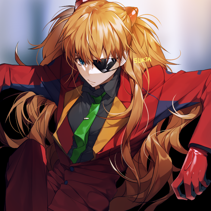 1girl adapted_costume artist_name bangs black_shirt blue_eyes bodysuit collared_shirt dress_shirt eyepatch green_neckwear headgear leaning_back long_hair looking_at_viewer necktie neon_genesis_evangelion orange_hair pants rebuild_of_evangelion red_bodysuit red_pants red_suit shirt sitting solo souryuu_asuka_langley sukja very_long_hair